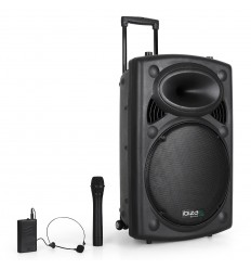 "15"" PORTABLE PA SYSTEM W/ 2 VHF MIC /USB-SD BLUETOOTH /VOX"