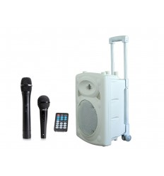 "WHITE -8"" PORTABLE SET +VHF MIC/WIRED MIC/USB-SD REC/VOX, BT"