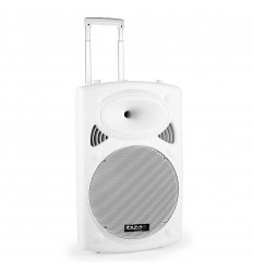 "WHITE -15"" PORTABLE PA SYSTEM W/ 2 VHF MIC /USB-SD, BT /VOX"